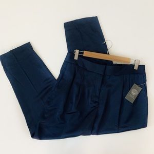 Vince Camuto Satin Cropped Pants Navy Blue